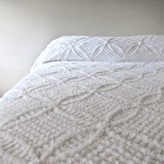 Vintage Chenille Bedspread in Summer White.   Great-grandparents had these.