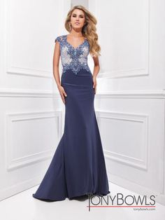 """This gown is beautiful--- & the back is stunning!  Click through to view the back and other colors! Definitely not your """"typical Mother of the Bride dress""""! Tony Bowls Evenings-CO-Runway - TBE21406"""
