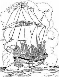 pirate ship a big pirate ship galleon coloring page