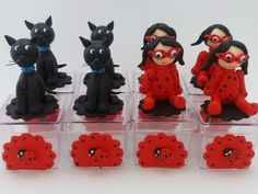 Caixinha de Acrílico 4x4 Decoradas com Biscuit Tema Festa LadyBug - Miraculous