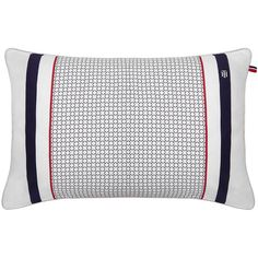 Tommy Hilfiger Navy & White Satin Cushion featuring polyvore home home decor throw pillows multi tommy hilfiger white home decor geometric home decor navy accent pillows navy home decor
