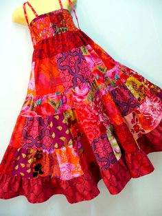 custom girls patchwork sun dress | by Monsoons and Mangoes