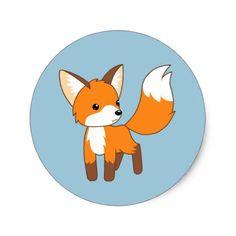 Cute Little Fox on Blue Classic Round Sticker