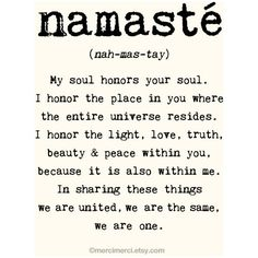 Large Namaste Poster - 16x20 inches on A2. Inspiring quote typography... ($63) ❤ liked on Polyvore featuring home, home decor, wall art, backgrounds, quotes, text, words, photo, phrase and saying