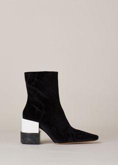 Maison Martin Margiela Layered-Heel Ankle Boot (Black Velvet/White)