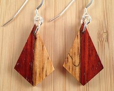 African Padauk Handcrafted Exotic Wood Earrings