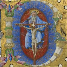 Initial B: The Trinity, cutting from a gradual, about 1460-70, Ferrara, Taddeo Crivelli. The J. Paul Getty Museum.