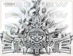 amazing prehispanic warrior face tattoo design | aztec ...