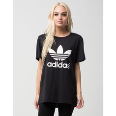 Adidas Trefoil Womens Tee (€27) ❤ liked on Polyvore featuring tops, t-shirts, crew-neck tee, crew t shirts, crew neck t shirt, boyfriend tee and streetwear t shirts