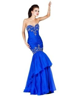 Jovani 5466, Strapless Beaded Mermaid Gown,
