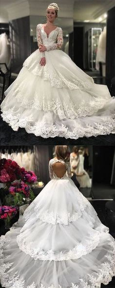 Gorgeous Long Sleeve V-neck Open Back Lace Ball Gown Wedding Party Dresses, PD0260