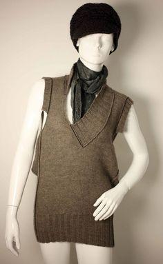 CREA CONCEPT SWEATER DRESS UK 8/10-VINTAGE SCARF-BLACK/BROWN WOOL CAP-FREE POST