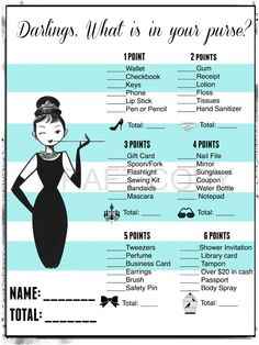 Bridal Shower Game-What's in your Purse by 31Flavorsofdesign