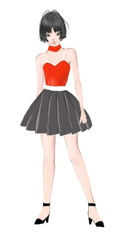 Japanese girl in red and black dress. #art #illustration #fashion #fashionillustration #japanesegirl #girl