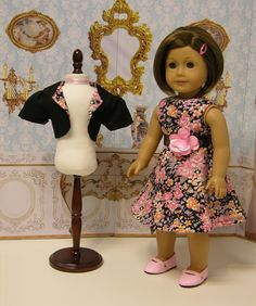 Idea: Floral Romance - sleeveless dress for American Girl doll with jacket. $55.00, via Etsy.
