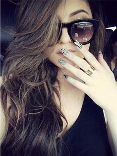 Kylie Jenner's black and white nails are too cool for school! and that hair! whaaaaattt?!?!