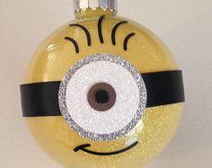"Minion Christmas Glitter Ornament 3.25"" Glass Ball"