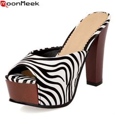 MoonMeek fashion stripes zebra women s high heels sandals shoes woman summer  platform slippers mules footwear shoes 3605cc8b7bdc