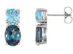 London Blue Topaz, Swiss Blue Topaz & Diamond Earrings In Rose Gold Blue Topaz Diamond, Topaz Gemstone, Gemstone Earrings, Women's Earrings, Diamond Stud, Sapphire, Diamond Earrings For Women, 14k White Gold Earrings, Topaz Jewelry
