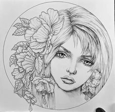 Portrait Sketches, Art Drawings Sketches Simple, Portrait Art, Portraits, Unicorn Coloring Pages, Coloring Pages To Print, Coloring Book Pages, Tattoo Painting, Drawing Projects