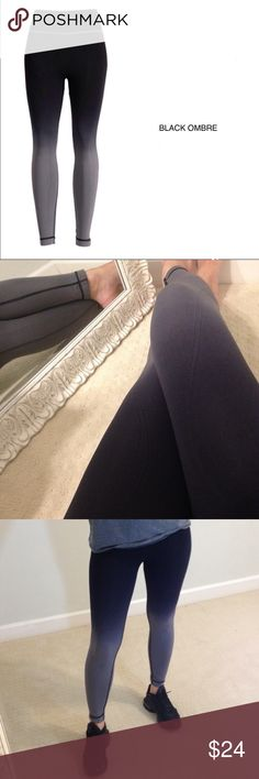 """Black Ombré Leggings / Tights 92% Nylon, 8% Spandex. Feels like tights. Stretchy material. Great for working out, running, yoga, or lounging. There is a waterfall stitching that goes from the waist to the inner thighs down and round to the ankle. Wearing my personal pair in the pic. One Size fits XS, S, M best.   MEASUREMENTS TAKEN FLAT and unstretched.   Waist: 12.5"""" Inseam: 25"""" Rise: reaches belly button   These stretch to a lot more. I am usually a 4/6 women's pant size.  Offers are…"""