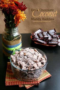 Dark Chocolate Coconut Muddy Buddies from JensFavoriteCookies.com -  use adult flavors to keep the little fingers out of your snacks!