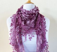 Womens scarf DEEP MAUVE with floral pattern by OriginalDesignsByAR, $14.00