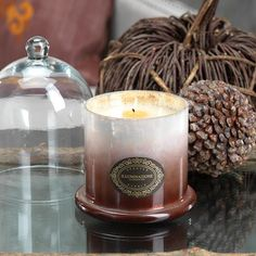 """Illuminazione Domed Candle Jar - Milky Brown Ombre;  7.5"""" x 4.75""""; 90 hours, nice design - snuff by putting lid back on...$44 on sale.. cinnamon bark scent."""