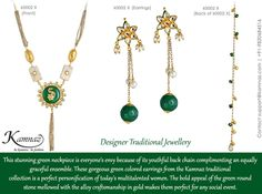 #KamnazJewellery This gorgeous green colored jewellery from the Kamnaz traditional collection mellowed with the alloy craftsmanship in gold makes it perfect for any social event.  For prices contact support@kamnaz.com | +91-9820684516 All Rights Reserved by http://kamnaz.com/ #handmadejewellery #jewelry #jewellery #jewellerylovers #jewellerytrends #designerjewellery #traditionaljewellery #indianjewellery