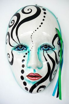 high x wide. Beautiful handpainted ceramic wall mask from Mexico. Each one is unique and has been signed by the artist who painted it. Handcrafted with love in Mexico. Hand Painted Ceramics, Exotic, Artisan, Mexico, Unique, Wall, Painting, Beautiful, Hand Painted Pottery