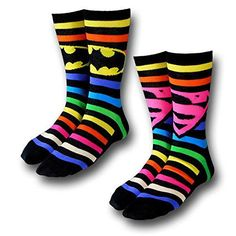 Batman  Superman Crew Socks 2 Pack Rainbow 510 -- Read more reviews of the product by visiting the link on the image. (This is an affiliate link)