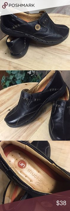 NEW Clarks Unstructured Loop Shoe Premium black leather upper and lamb skin lining with air circulation system. New without tag. Retails for $130 on Clarksusa.com Clarks Shoes Flats & Loafers
