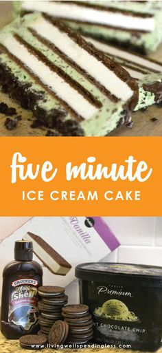 ice cream cake Need a go-to dessert for all those last minute gatherings? This show-stopping ice cream cake comes together in just five minutes with four simple ingredients! Customize with your favorite flavors for an amazing dessert everyone will Diy Ice Cream Cake, Ice Cream Desserts, Ice Cream Recipes, Fun Desserts, Mint Ice Cream Cake Recipe, Ice Cream Cake Sandwich, 5 Minute Desserts, Dessert Recipes, Glace Diy