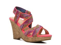 CL by Laundry Iconic Wedge Sandal fabric pink/multi 3.75h (29.94) NA