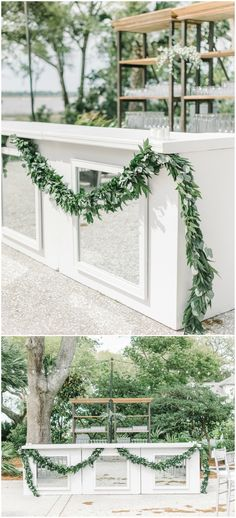 Outdoor wedding reception bar, leafy garland, white bar, square mirrors, natural wedding decor, cocktail hour // Aaron and Jillian Photography