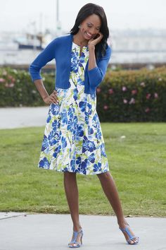 Floral Split Neck Fit & Flare Dress: Classic Women's Clothing from #ChadwicksofBoston $59.99