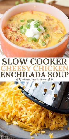 How to make a simple, homemade, creamy chicken enchilada soup in your Crock Pot. Quick and easy recipe without all the hassle of enchiladas! #adventuresofmel #souprecipes #TexMex