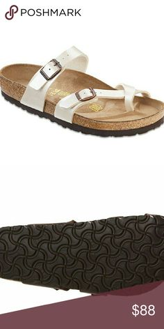 """Birkenstock """"Mayari"""" Toe-Loop Comfort Sandal Size 9/9.5 brand new. . Adjustable instep strap. Toe loop strap. Closure. Buckle. Toe type. Round open. Lining. Manmade. Footbed. Original birkenstock Footbed with deep heel  cup. Arch support. Toe bar. Insole. Molded  cork insole with leather sock lining. Sole. Treaded EVA. Birkenstock Shoes Sandals"""