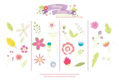 Check out Whimsy Flowers PNG Clipart Summer by Holly McCaig Creative on Creative Market