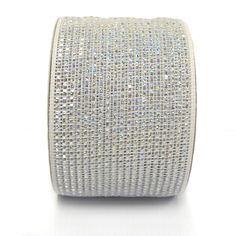 Wide Foil Metallic Deco Poly Mesh Ribbon  White with Silver Laser Foil metallic 4 in width; 25 yards Craig Bachman Imports