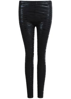 Black Slim Leopard Leggings - Sheinside.com