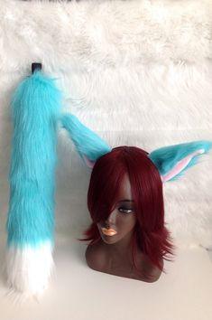 Rainbow Unicorn Pastel Pink Blue Purple Furry Fox Ear Headband Tail Sey Cosplay
