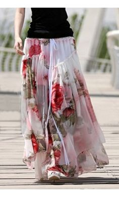 Multilayered Floral Chiffon Skirt - Apostolic Clothing