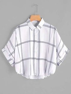 Young Casual Plaid Shirt Oversized Collar Half Sleeve Batwing Sleeve and Roll Up Sleeve White Grid Print Dip Hem Cuffed Blouse Teen Fashion Outfits, Trendy Outfits, Girl Outfits, Dress Fashion, Fashion Fashion, Fashion Ideas, Vintage Fashion, Fashion Tips, Fashion Trends
