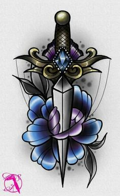 #neotraditional #peony #flower #dagger #tattoo #design #drawing