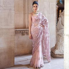 Shivani wears a beautiful blush pink saree with rose blooms embroidered all over on a delicate tulle background in resham with accents of shimmer sequins. MEMOIRS OF A MAHARANId SHYAMAL BHUMIKA 2019 Couture Collection . Kindly WhatsApp on for more info. Pakistani Dresses, Indian Sarees, Indian Dresses, Indian Outfits, Bridal Lehenga, Lehenga Choli, Sabyasachi, Anarkali, Saree Designs Party Wear