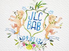 Oh So Beautiful Paper: Jennifer + Barron's Gold Foil Watercolor Crest Wedding Invitations