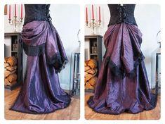 2 in 1 Bustle Trailing Skirt Victorian Steampunk Gothic Burlesque Tribal  Bellydance Overskirt Train Black Red Gold Purple Brown Fringe e88de08c2