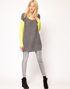 this sweater looks so comfy Enlarge Just Female Neon Sleeve Aran Sweater