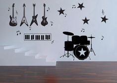 Music instruments Mix Vinyl Wall Art Decal  WD0327 by dinaamon, $42.99